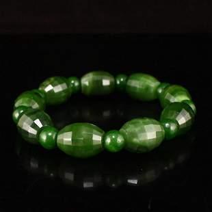 Green Hetian Jade Beads Bracelet w Certificate