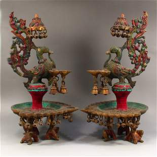 Pair Tibetan Gilt Gold Bronze Turquoise Candlesticks