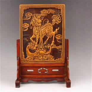 Vintage Zitan Wood Inlay Bamboo Lucky Kylin Screen