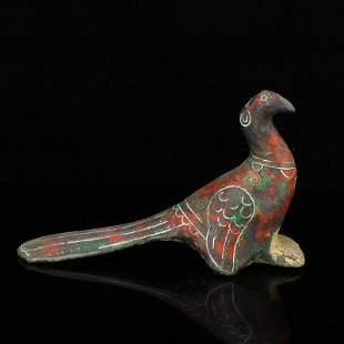 Vintage Chinese Bronze Inlay Silver Wire Bird Statue