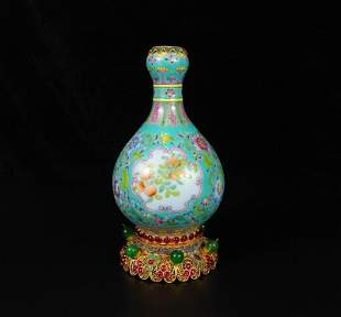 Chinese Blue Gourd Famille Rose Porcelain Vase