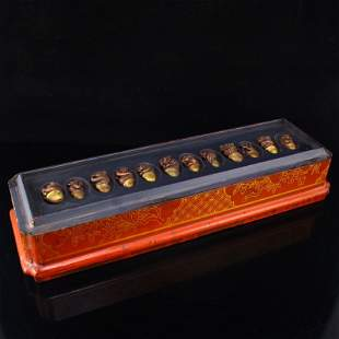 A Set Chinese Gilt Gold Red Copper 12 Zodiac Pendants