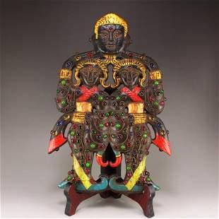 Vintage Jade Inlay Gold Wire & Gem Figure Statue
