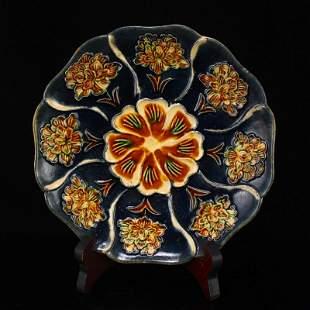Chinese Liao Sancai Flower Design Porcelain Plate