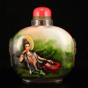 Superb Peking Glass Inside Painting Big Snuff Bottle