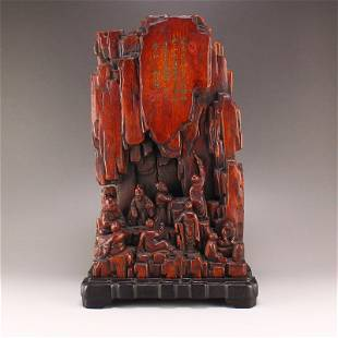 Superb Qing Chenxiang Wood Poetic Prose Figure Statue
