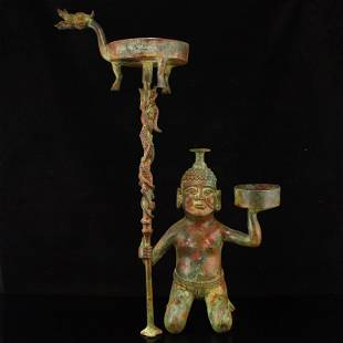 Vintage Chinese Bronze Figure Candlestick
