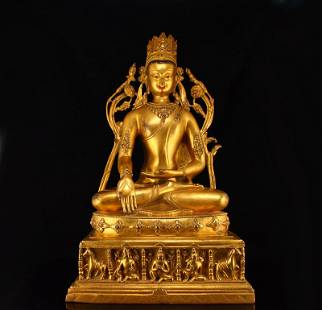 15 Kg Gilt Gold Red Copper Tara Buddha Statue