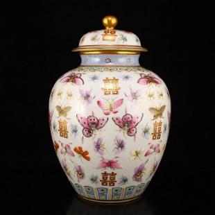 Gilt Gold Famille Rose Butterfly Design Porcelain Jar
