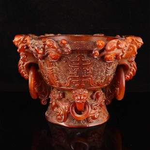 Qing Dy Ox Horn Double Rings Big Incense Burner