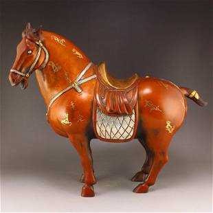 Vintage Chinese Gilt Gold Red Copper Horse Statue