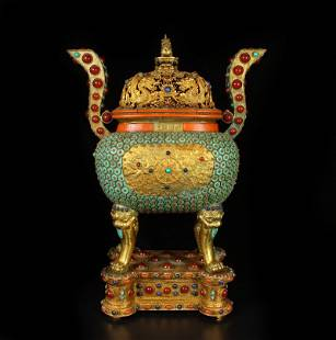 Gilt Gold Red Copper Inlay Turquoise Incense Burner