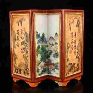 Gilt Edges Red Glaze Famille Rose Porcelain Brush Pot