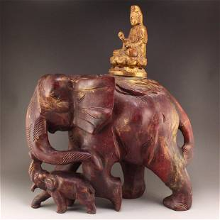 4Kg Gilt Gold Lacquerware Kwan-Yin & Elephant Statue