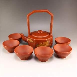 Set Chinese Yixing Zisha Clay Handle Teapot w Cups