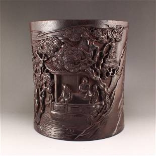Chinese Zitan Wood Low Relief Sages Meeting Brush Pot