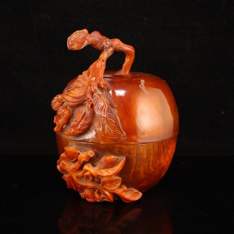 Vintage Chinese Ox Horn Carved Apple Shape Box