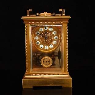 Superb Vintage Gilt Gold Red Copper Mechanical Clock