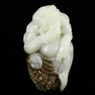 Natural Hetian Jade Pendant - Buddhism Arhat & Dragon