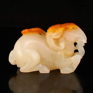 Hand Carved Chinese Shoushan Stone Ruyi Sheep Statue