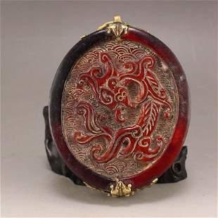 Vintage Chinese Ox Horn Dragon & Phoenix Pendant