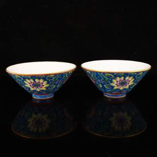 Pair Chinese Blue Ground Famille Rose Porcelain Cups