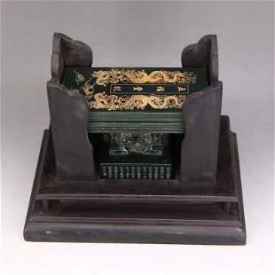 Vinatge Deep Green Hetian Jade Seal & Jade Book w Box