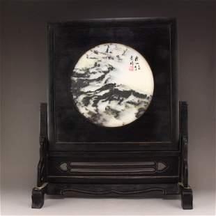 Chinese Zitan Wood Inlay Marble Stone Screen