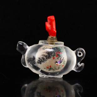 Crystal Inside Painting Teapot Style Snuff Bottle