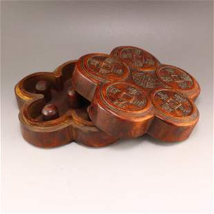 Vintage Chinese Zitan Wood Thumb Ring Box