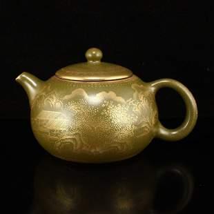 Qing Dy Gilt Gold Tea Dust Glaze Porcelain Teapot