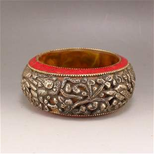 Vintage Tibetan Silver Inlay Amber Arm Bracelet