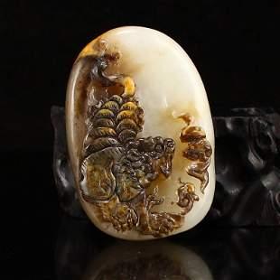 Chinese Hetian Zi Jade Tiger Pendant w Certificate