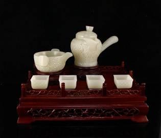 Set Superb Chinese Hetian Jade Long Handle Teapot & Cup