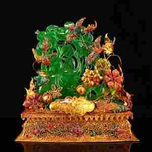 Green Jade Lucky Elephant Statue Gold Wire Enamel Base