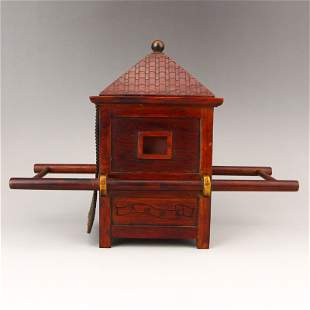 Hand Carved Chinese Rosewood Bridal Sedan Chair Model