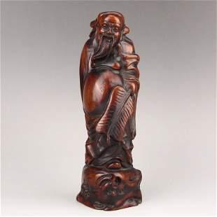 Vintage Chinese Zitan Wood Mythology Figure Statue