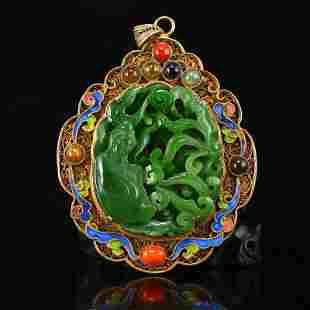 Gold Wire Enamel & Green Hetian Jade Kwan-Yin Pendant