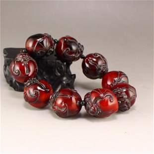 Vintage Chinese OX Horn Carved Peach & Bat Bracelet