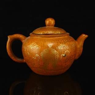 Gilt Gold Zisha Clay Double Fish Design Teapot