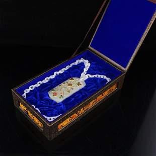 Qing Dy Hetian Jade Gilt Gold Inlay Gems Pendant