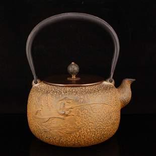 Black Iron Fishing Old Man Handle Teapot