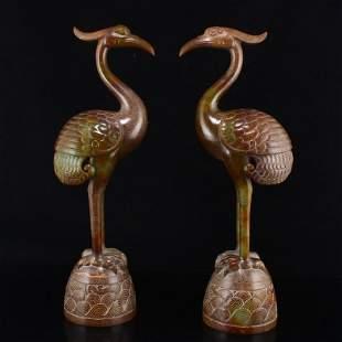 Vivd Chinese Hetian Jade Carved Divine Crane Statues