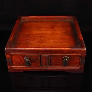 Vintage Chinese Zitan wood Tea Tray With Drawer