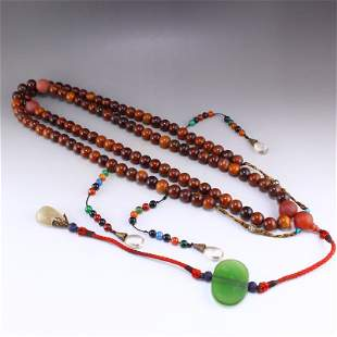 Ox Horn & Crystal Beads Court Officials Necklace