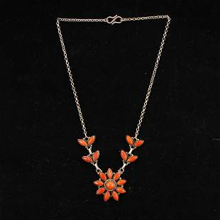 Vintage Chinese Pure Silver Inlay Coral Necklace