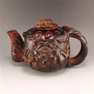 Chinese Qing Dy OX Horn Carved Lotus & Gold Fish Teapot
