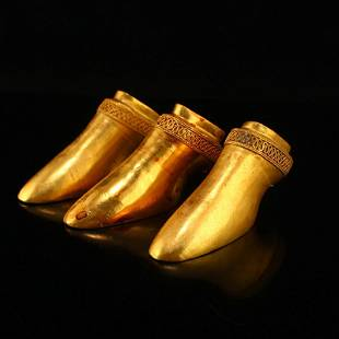 Three Chinese Horse's Hoof Shape Gold Bullion