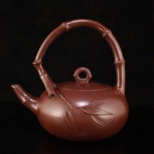 Chinese Yixing Zisha Clay Handle Teapot w Artist Signed