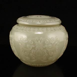 Superb Chinese Qing Hetian Jade Carved Tea Caddy w Lid